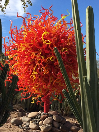 Red Chihuly on a stick