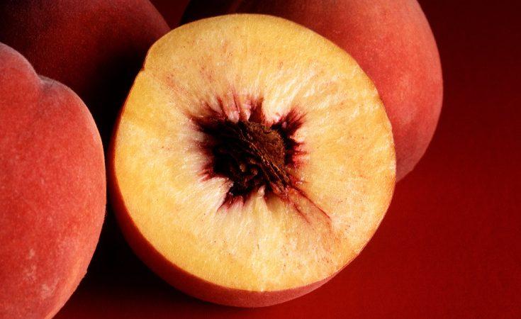 Sliced peach showing fleshy mesocarp